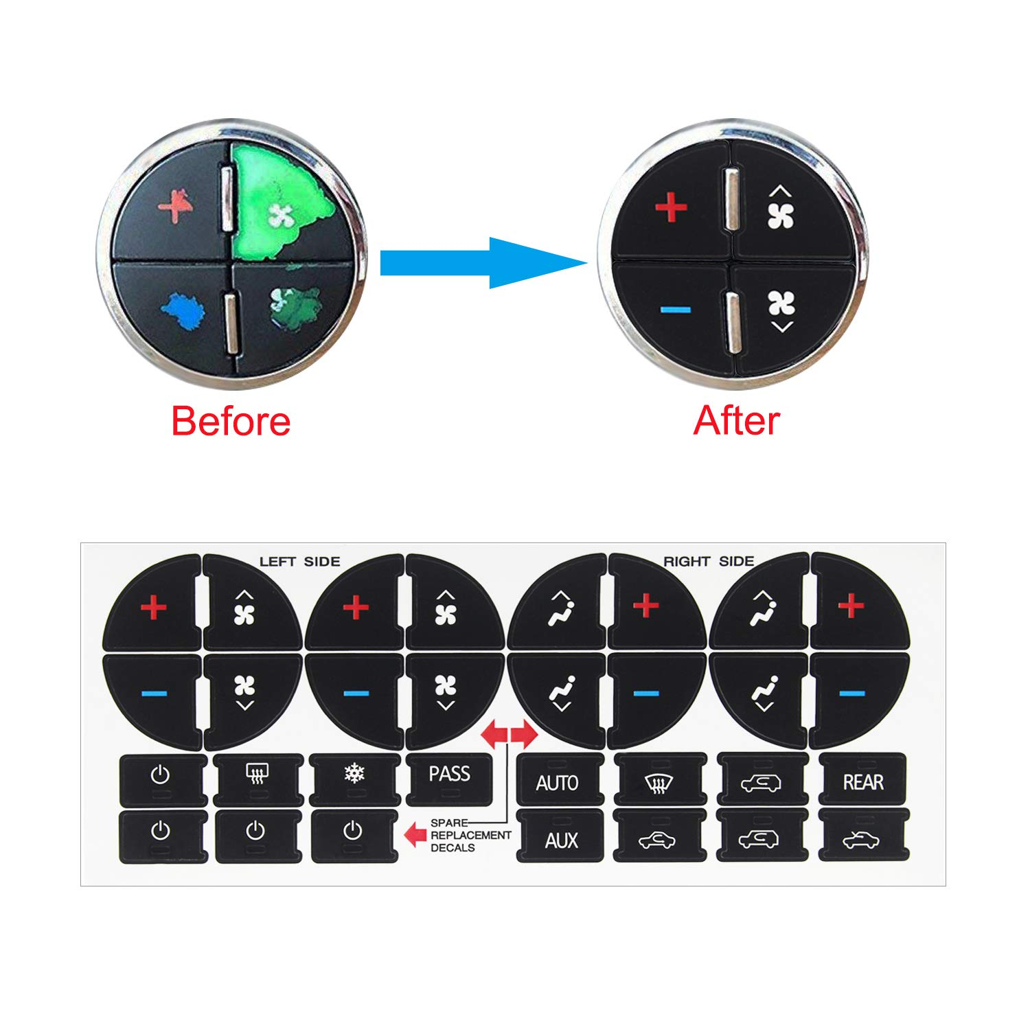 Luckkyme AC Button Replacement Stickers Kit Adhesive AC Dash Button Fix Ruined Faded Auto AC Controls for Buick Chevrolet Chevy GMC Vehicle 2pcs New