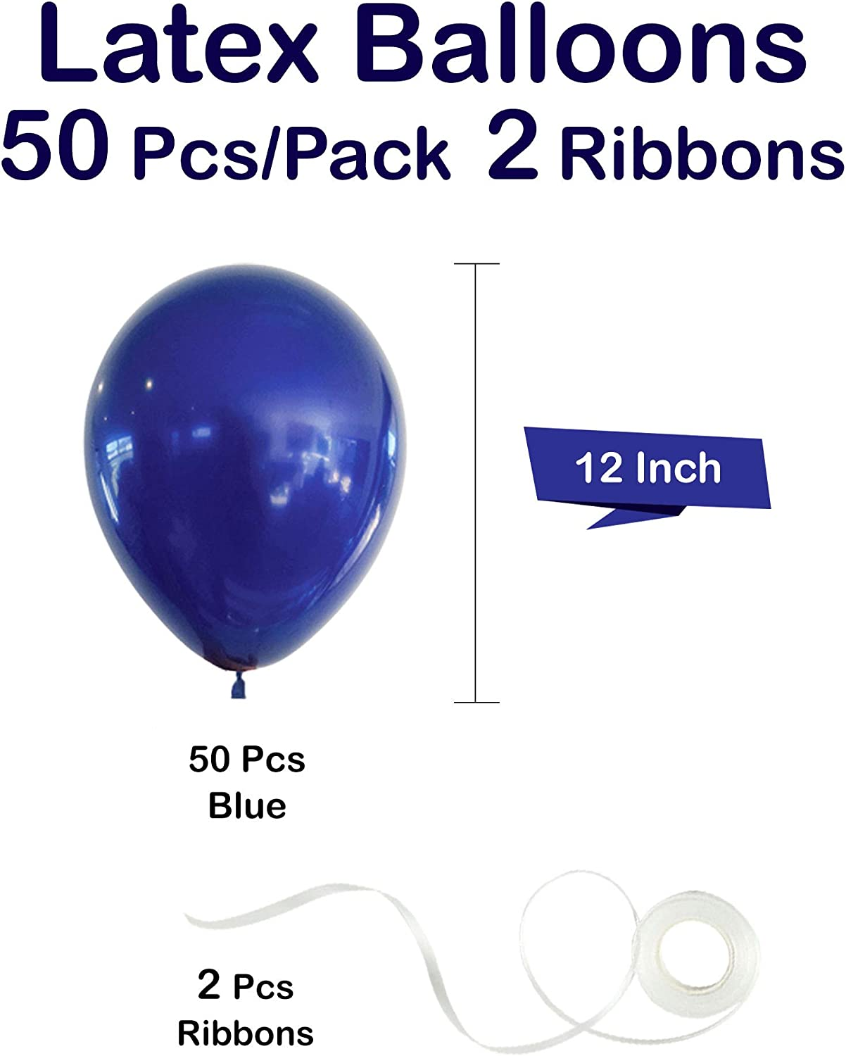 MINCHIC Balloons 50 pcs 12 inch 2 pcs Ribbons include Blue Balloons Party Balloons for Valentine anniversary Shower Wedding Engagement Birthday Graduation Supplies Decorations