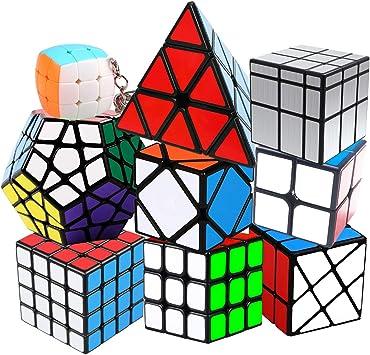 Coolzon Cubo de Velocidad Puzzle Cubes Speed Cube, Juego de Puzzle para Niños Adultos (Paquete de 9): Amazon.es: Juguetes y juegos