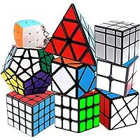 Coolzon Speed Cube Set, Rubix Cube Set 2x2 3x3 4x4 Pyraminx Megaminx Mirror Skewb Fisher Bun Cube Keychain, Fast & Smooth Magic Cube Pack of 9