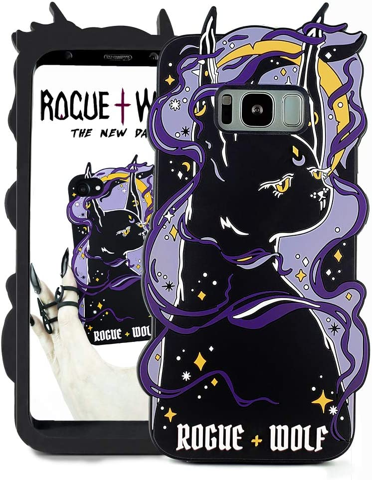 Rogue + Wolf Cute 3D Witch Kitten Protective Phone Case Silicone Shock-Absorption Scratch Resistant Protection Cover Compatible with iPhone 6 6S 7 8 Cases Wiccan Goth Witch Gifts for Women