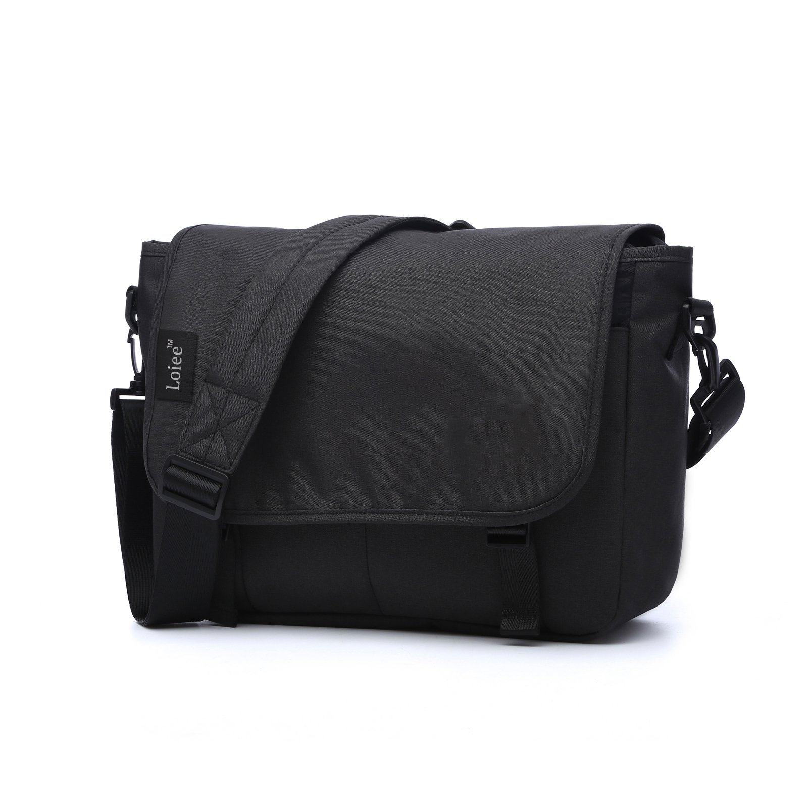 Loiee 14 inches Classic Canvas Messenger Bag,Water Resistant Vintage School Bag,Black