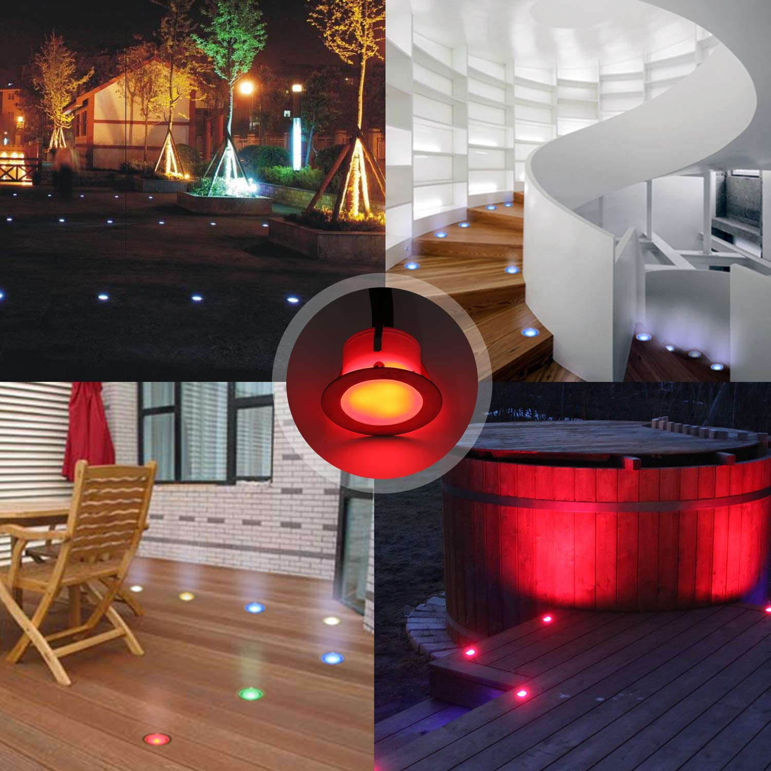 CHNXU 10 Pack LED Deck Lighting Kit with Transformer Warm White IP67 Waterproof /Φ1.77 12V Low Voltage Recessed Landscape Garden Yard Patio Step Stair Decoration Lamps LED In-ground Lights