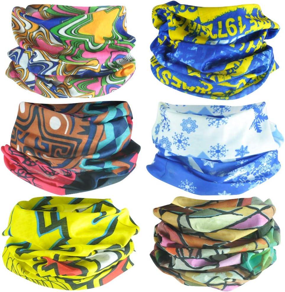 wocharm Elastic 6 Pack Multifunctional Outdoor Headband Bandanas Headwear Headwrap Mask Face Mask 38# Group
