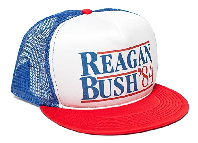 99039946961ca Reagan Bush 84 Campaign Flat Unisex-Adult Trucker Hat -One-Size (Royal