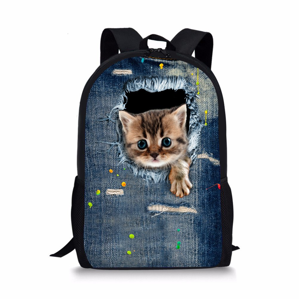 966c924fc7c5 Coloranimal Polyester Fabric Cute Denim Animal Cat Pattern Student Kids  School Backpacks
