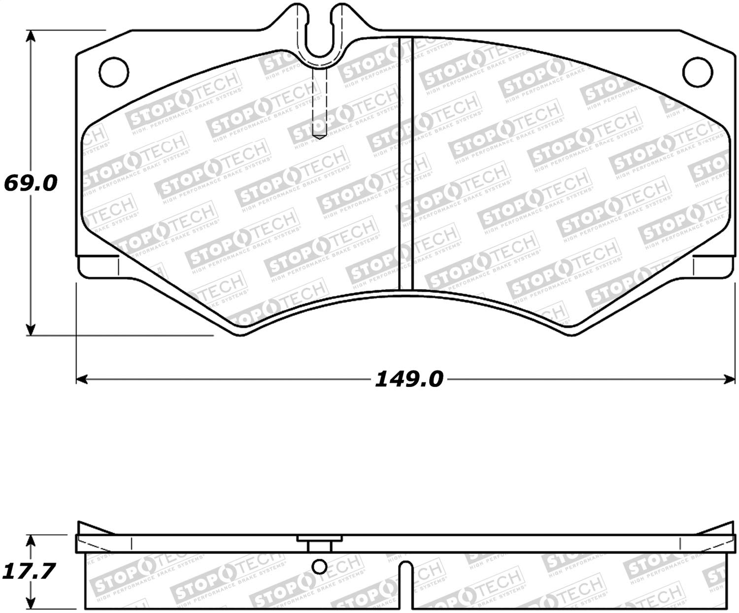 StopTech 308.09270 Street Brake Pads; Front with Shims