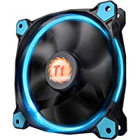 Thermaltake Riing 12 Series High Static Pressure 120mm Circular LED Ring Case/Radiator Fan with Anti-Vibration Mounting System Cooling CL-F038-PL12BU-A Blue