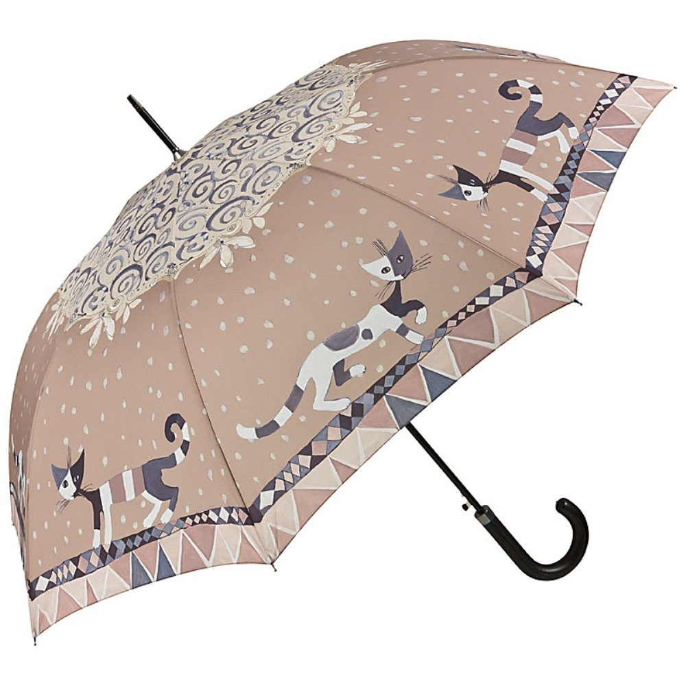 VON LILIENFELD® Regenschirm Automatik Damen Kunst Katze Motiv Rosina Wachtmeister Brunello