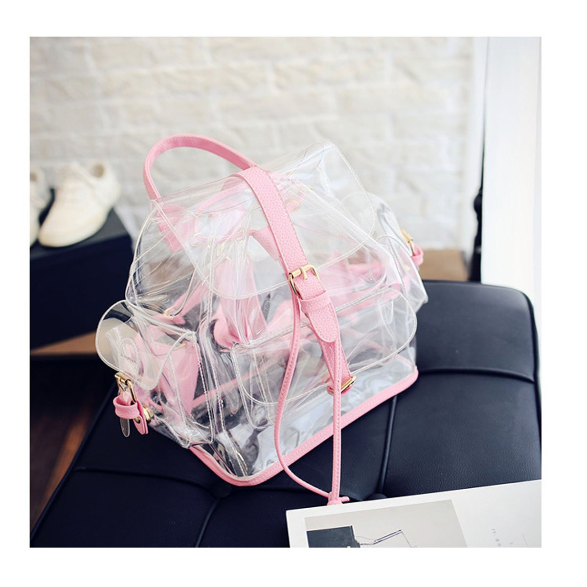 Amazon.com | ANPI Cute Stylish Summer Clear Backpack Rucksack Knapsack Satchel Transparent for Girls and Ladies Pink | Kids Backpacks