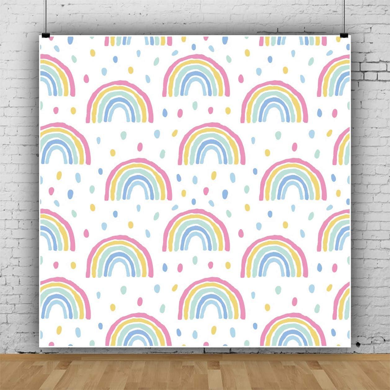 YEELE Rainbow and Raindrops Backdrop 6.5x6.5ft Pastel Color Baby Shower Photography Background Birthday Party Kindergarten Children Nursery Room Decoration Photo Booth Props Vinyl Studio Wallpaper