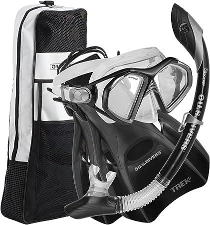 Aqua Lung Flippers Mask U.S Divers Adult Silicone Snorkel Set w// Travel Bag