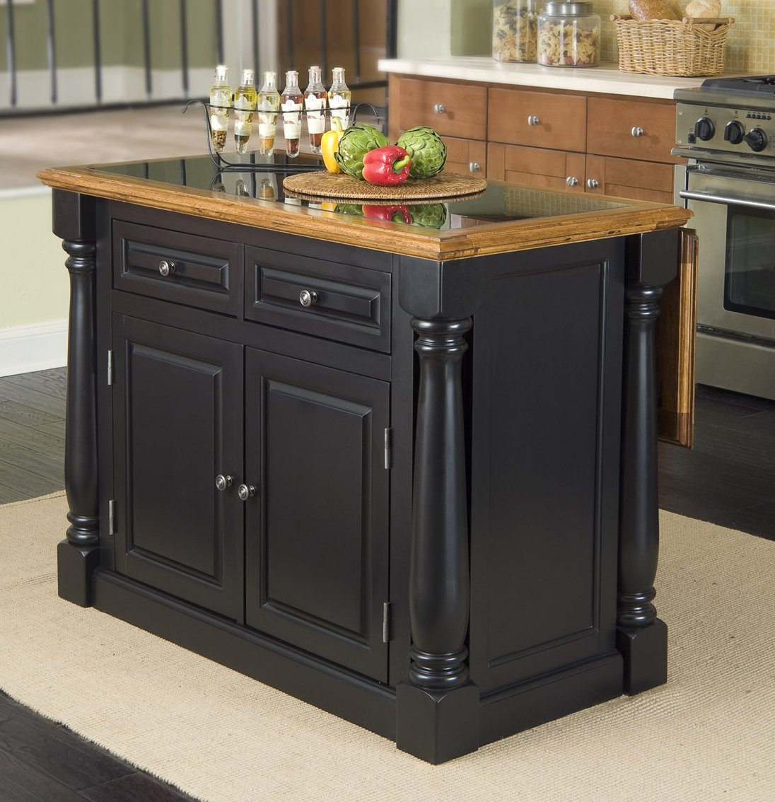 Monarch Black/Distressed Oak Kitchen Island with Granite Top by Home Styles