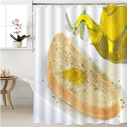 Gzhihine Shower Curtain Pouring Virgin Olive Oil On A Slice Of Bread With Oregano Bathroom Accessories