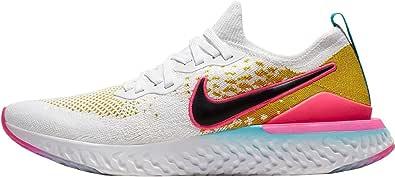Nike Men's Epic React Flyknit 2 Running Shoe, White/Black-Pink Blast-Bright Citron, Size 12