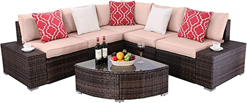 Do4U 6 Pieces Patio Furniture Sets PE Wicker Rattan Outdoor All Weather Sectional