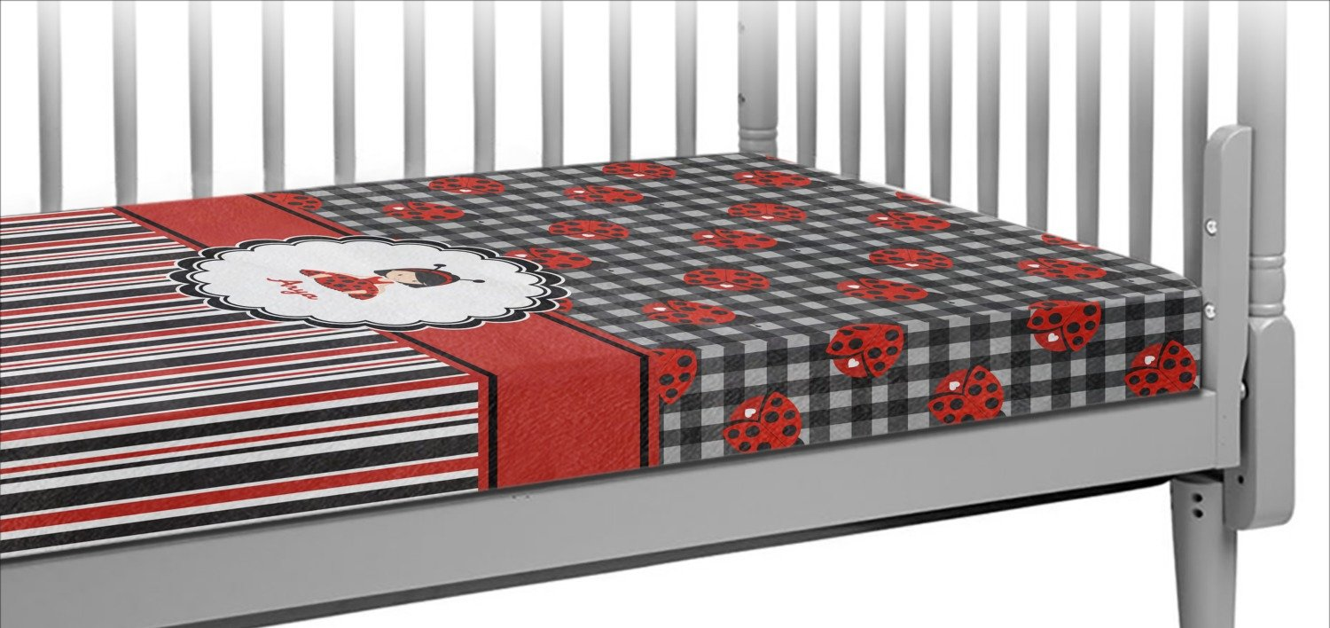 Ladybugs & Stripes Crib Fitted Sheet (Personalized)