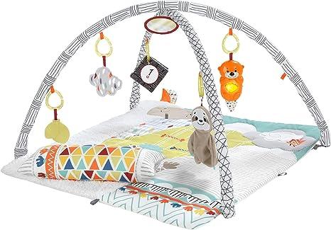 Fisher-Price Manta gimnasio de actividades con accesorios para los 5 sentidos, juguete para bebés (Mattel HBB74), Embalaje sostenible