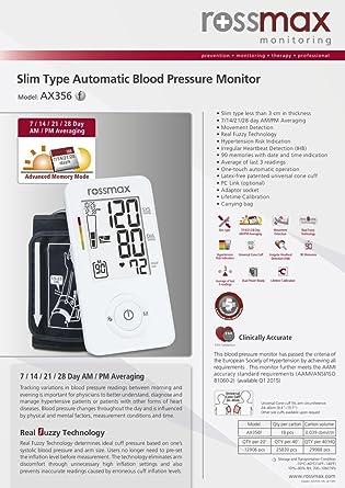 Rossmax Ax356 F - Tensiometro de brazo extra plano: Amazon.es: Industria, empresas y ciencia