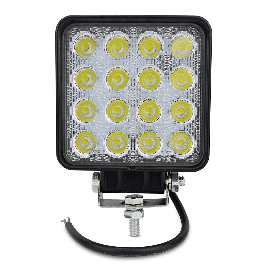 LED Lampes de travail 48W Lampes de brouillard Flood Astigmatisme LED Vé hicule Phare BAR pour Tout-terrain Chantier camions Remorque hors route Off-Road Bateau camions de pompiers XD