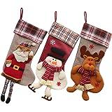 3 Pcs Calze di Natale con Babbo Natale Pupazzo di Neve e Renne, Decorazioni Natalizie,Sacchetti di Caramelle (Stile 1)