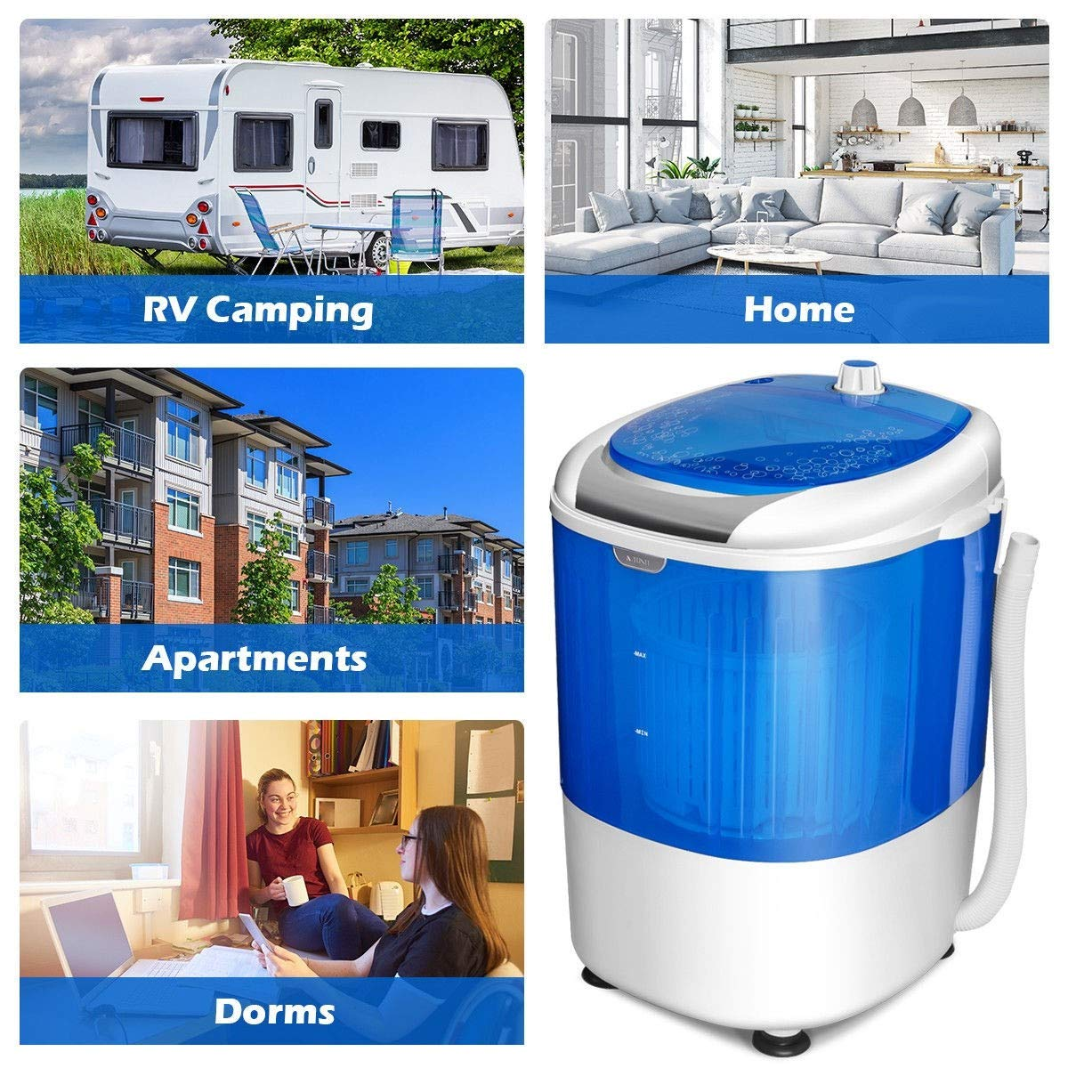 Washing Machine, 5.5 lbs Portable Mini Semi Auto Washing Machine by MD Group (Image #2)