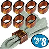 mDesign Napkin Rings for Home, Kitchen, Dining Room Table - Pack of 8, Brown