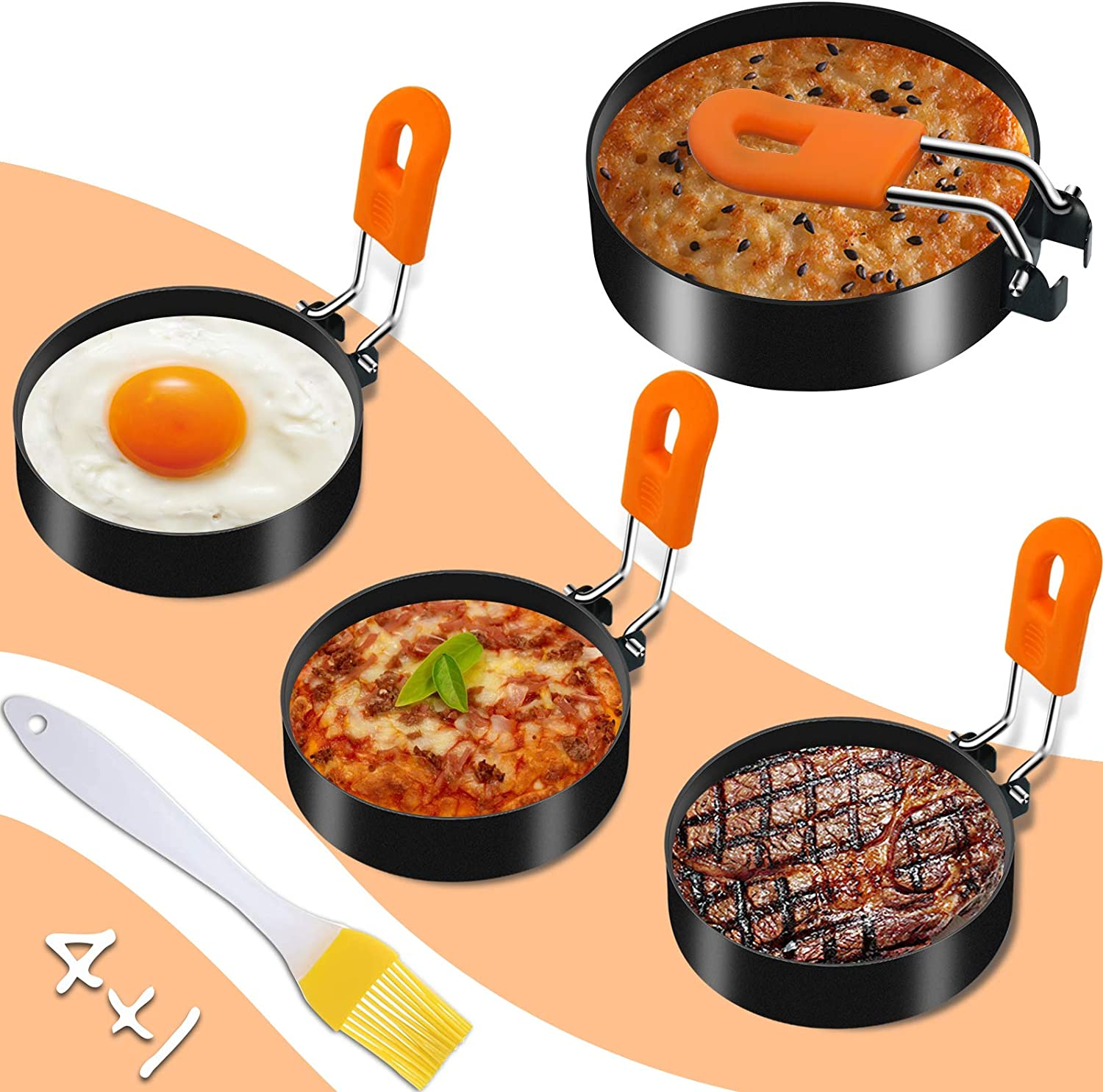 Egg Rings for Frying Eggs, Aneder 4 Pack Egg Cooker Stainless Steel Egg Mold with Silicon Brush Round Crumpet Ring Mold Shaper for Breakfast, Mini Pancakes and Fried Eggs