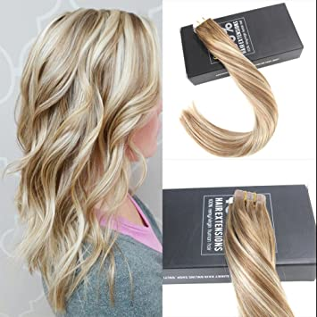 Amazon sunny 16inch tape in hair extensions human hair sunny 16inch tape in hair extensions human hair balayage brown 6 fading to blonde mixed pmusecretfo Choice Image