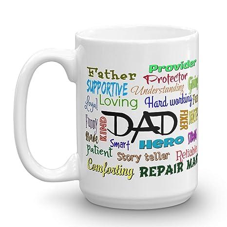Amazon.com: Dad palabras Taza, regalo del día del padre ...