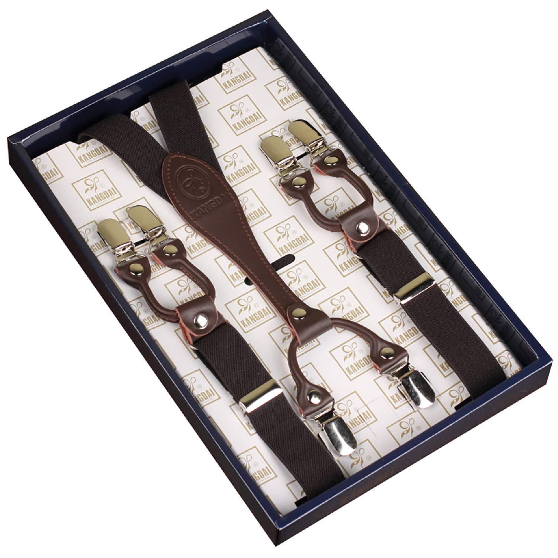 KANGDAI Bretelle unisex Bretelle Skinny 6 Clips tagliate 25mm Y-Back Bretelle elastiche durevoli Clips regolabili in metallo forte per uomini e donne