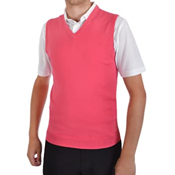 adidas Golf Mens Sleeveless V Neck Sweater Vest Top - Pink - M ...