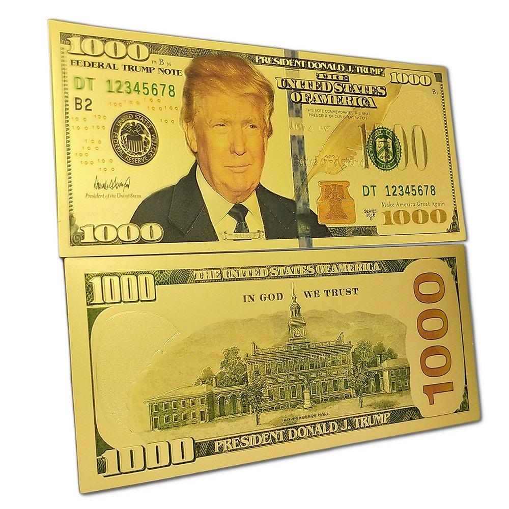 amazon com donald trump 1000 dollars gold foil banknote
