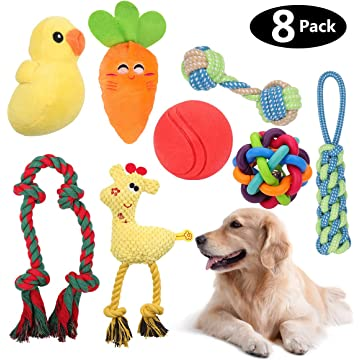 HomeMall Dog Toys for Medium Dogs, Puppy Toys, 8 Pack Interactive Dog Toys Set with Squeak Toys Rope Teething Toys Plush Toy IQ Treat Ball Chew Toys Toss Ball for Dogs