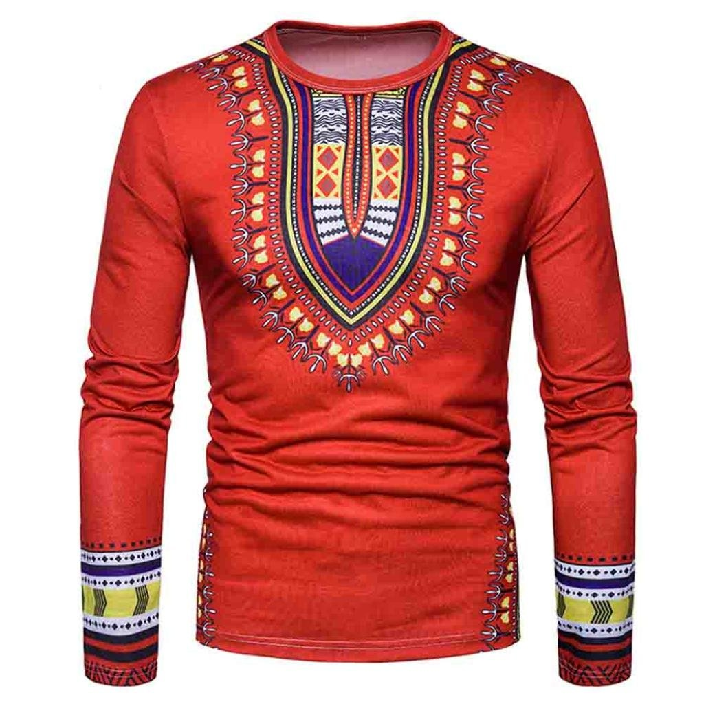 Boomboom Men Shirts, 2018 Fashion Casual Men African Printed O-Neck Long Sleeve T-Shirt Blouse