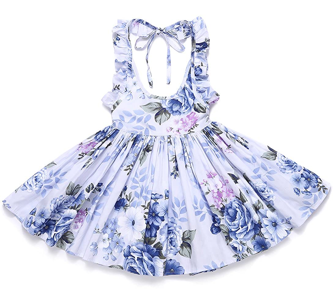 Flofallzique Girls Dress Vintage Flower Backless Birthday Party Sundress FLODR16