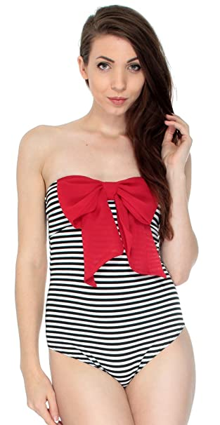 Amazon.com  Simplicity Women Fitted Bodysuit Black White Striped Style  w Big Red Bow  Clothing ff1f53242