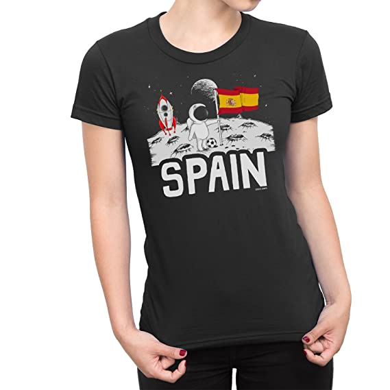 Buzz Shirts Señoras Spain Espana Camiseta Moon Flag Copa del Mundo 2018 Fútbol Funny Patriotic De Las Mujeres: Amazon.es: Ropa y accesorios
