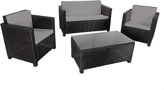 MATIRA - Muebles de Jardín de Resina Trenzada - 2 Sillones, 1 Sofá, 1 Mesa Baja Rectangular 90x50 cm - Cojines de Asiento y de Respaldo Mullidos - Resistente a la Intemperie - 4 plazas - Negro Gris: Amazon.es: Jardín