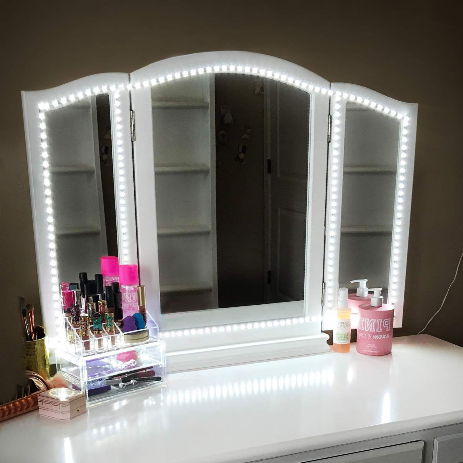 Led Vanity Mirror Lights Kit,ViLSOM 13ft/4M 240 LEDs Make-up Vanity Mirror Light for Vanity Makeup Table Set with Dimmer and Power Supply,Mirror not Included. by ViLSOM