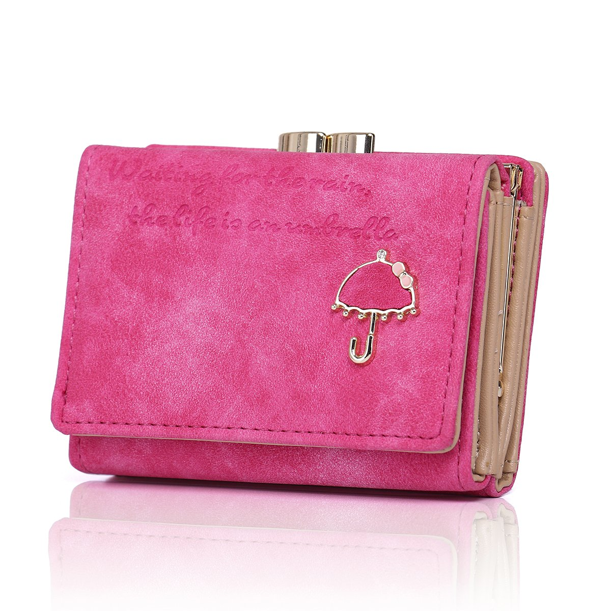 APHISON Women's Nubuck Leather Wallet Card Holder Cute Small Coin Purse for Lady Kiss Lock Closure/Gift for Girls(Gift Box) 330PQJ13Blue