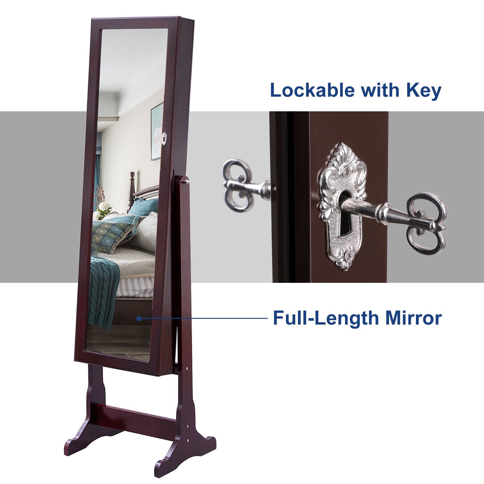 SONGMICS 6 LEDs Mirror Jewelry Cabinet Lockable Standing Mirrored Jewelry Armoire Organizer 2 Drawers Brown Mother's Day Gift UJJC94K by SONGMICS (Image #9)