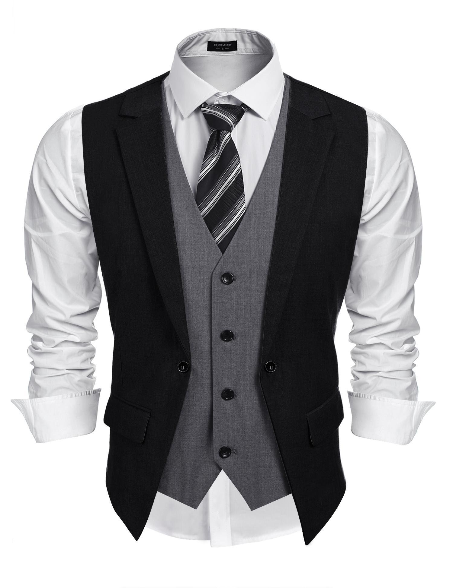 Coofandy Mens Formal Fashion Layered Vest Waistcoat Dress Vest, Black, Medium by COOFANDY