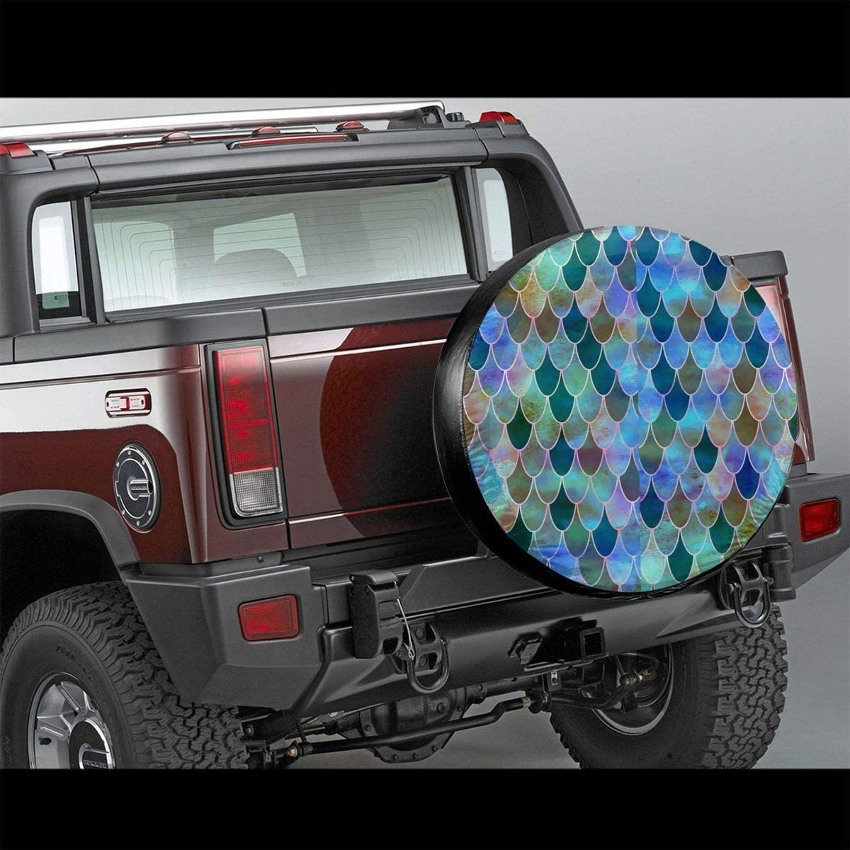 Shiny Mermaid Scales Potable Polyester Universal Spare Wheel Tire Cover Wheel Covers for Jeep Trailer RV SUV Truck Camper Travel Trailer Accessories Spare Wheel Cover Belleeer Spare wheel cover