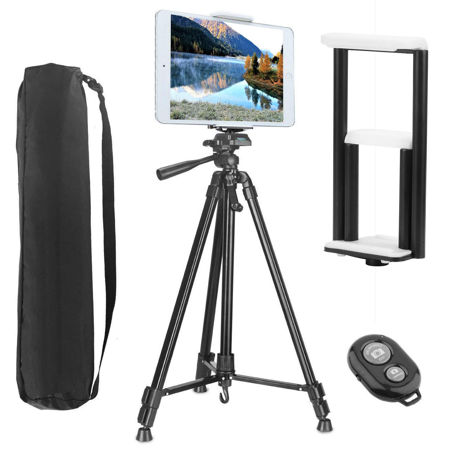 Tripod for Tablet and Phone, PEYOU Upgraded 62' Aluminum Camera Tripod + [2 In 1] Tablet & Phone Holder Mount With Wireless Bluetooth Remote Shutter For iPhone XS/XS Max/X 8/8 Plus 7/7 Plus 6/6 Plus SE, For Samsung Galaxy S9/S9 Plus S8/S8 Plus S7/S7 Edge S
