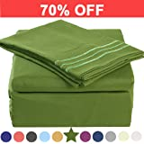Microfiber Queen Size Bed Sheet Set - Made Of 100% Brushed Microfiber Polyester 1800 Series - Extra Deep Pocket - Stain Resistant, Warm, Breathable And Hypoallergenic - 4 Piece (Green) - TEKAMON