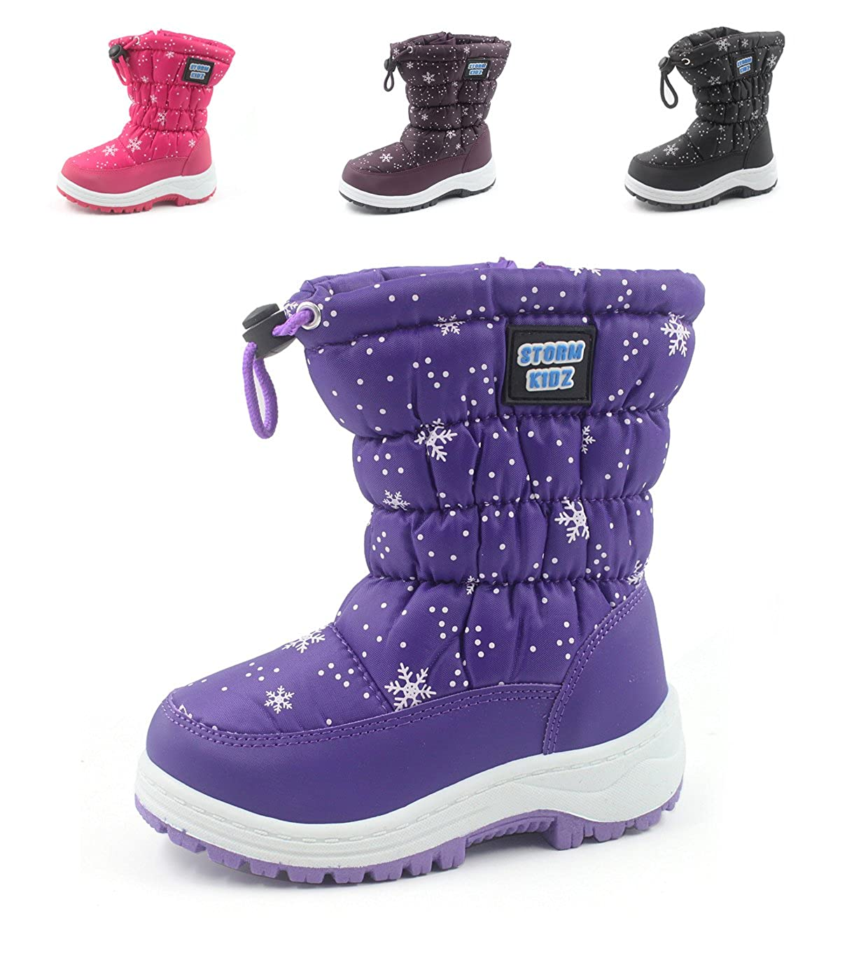 Girl/'s Comfy Snow Rain Warm Furry Boots Shoes Toddler to Little Kids Purple