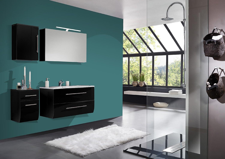 SAM® Badmöbel-Set Niagara Deluxe 4tlg, 120 cm, hochglanz schwarz, mit Mineralguss-Waschbecken, Softclose-Funktion, Badezimmer mit Waschplatz, Spiegelschrank, Hängeschrank und Unterschrank
