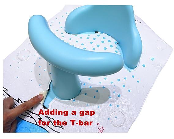 BBCare Asiento de Baño y Alfombrilla Extra Grande con Indicador de Agua Caliente Antideslizante Seguro para Bebés (Ballena_Azul)
