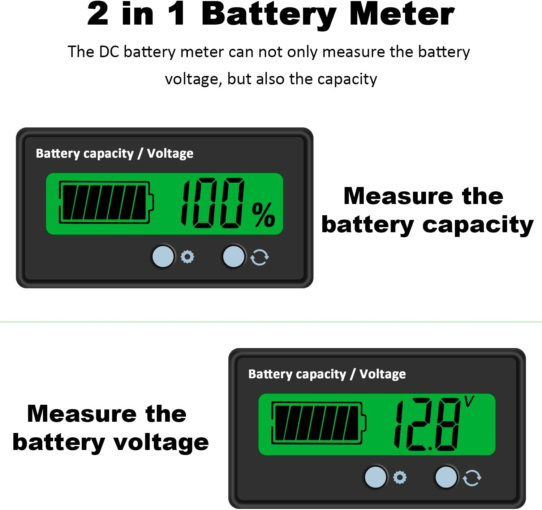 Moniteur de Batterie KKmoon Moniteur de Batterie CC Multim/ètre Amp/èrem/ètre Voltm/ètre Moniteur de Tension 10A Testeur de Capacit/é de Batterie